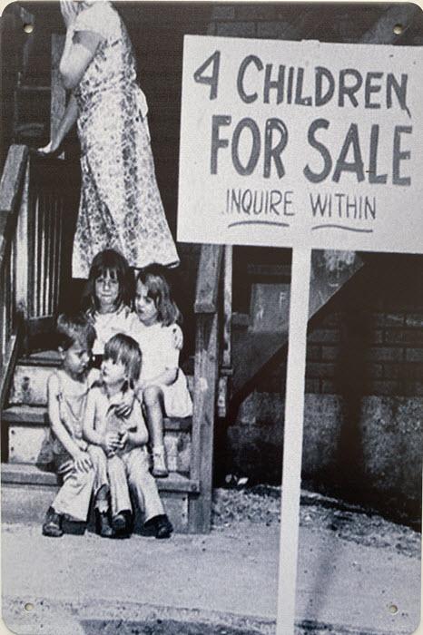 Retro metalen bord limited edition - 4 Children for sale