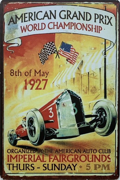 Retro metalen bord limited edition - American grand prix