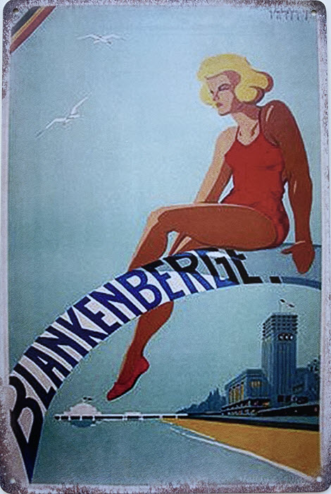 Retro metalen bord limited edition - Blankenberge kust