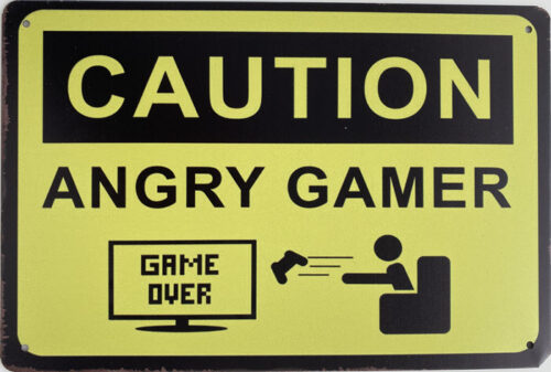 Retro metalen bord limited edition - Caution angry gamer