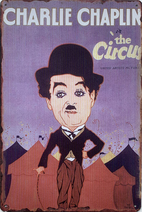 Retro metalen bord limited edition - Charlie Chaplin in the circus 2