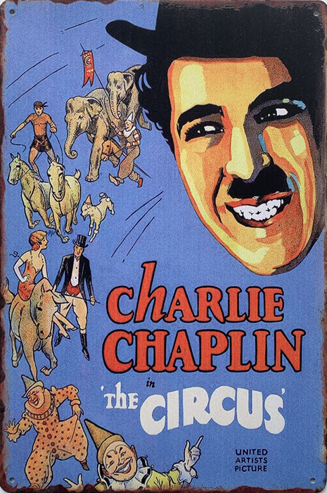 Retro metalen bord limited edition - Charlie Chaplin in the circus