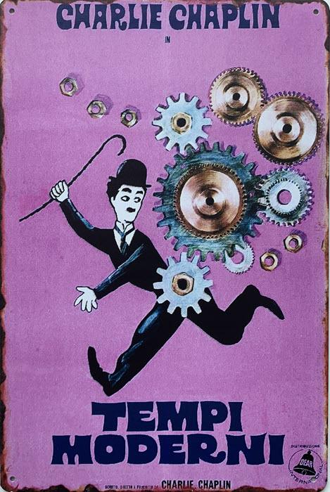 Retro metalen bord limited edition - Charlie Chaplin tempi moderni