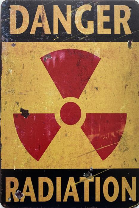 Retro metalen bord limited edition - Danger radiation