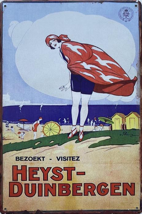 Retro metalen bord limited edition - Heyst-Duinbergen