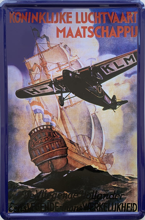 Retro metalen bord limited edition - Koninklijke luchtvaart maatschappij