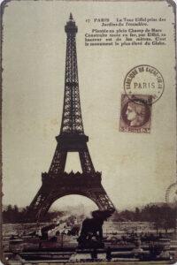 Retro metalen bord limited edition - La Tour Eiffel prise des jardins