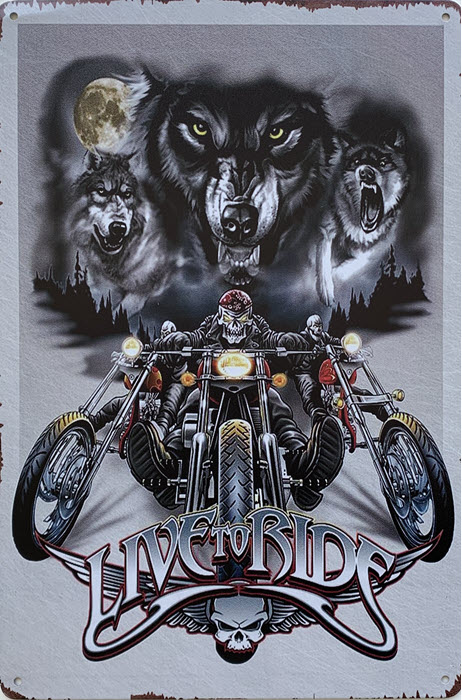Retro metalen bord limited edition - Live to ride