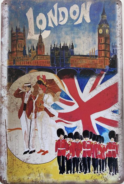 Retro metalen bord limited edition - Londen soldaten