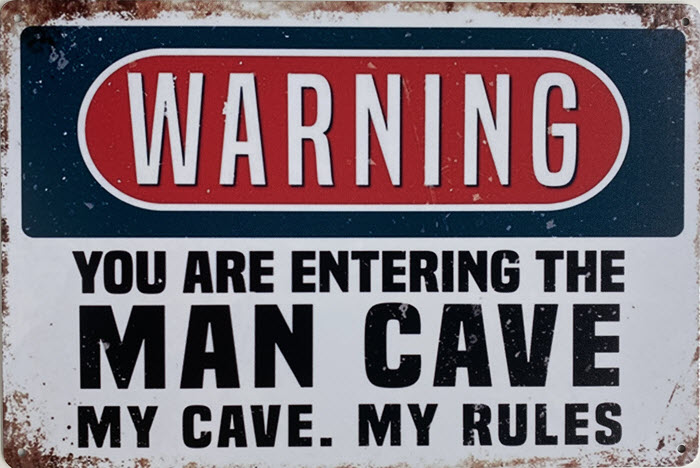 Retro metalen bord limited edition - Mancave warning you are entering the mancave
