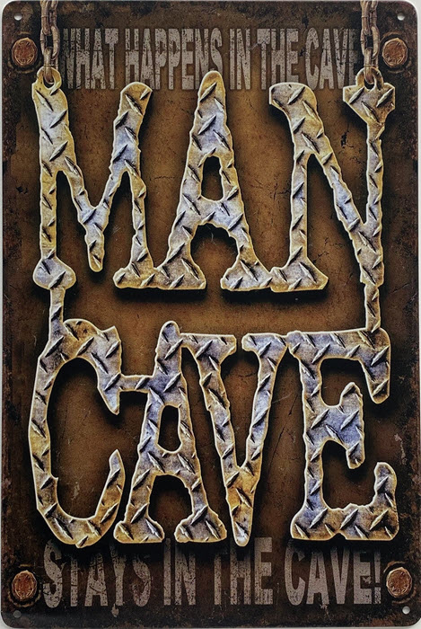 Retro metalen bord limited edition - Mancave what happens in the cave
