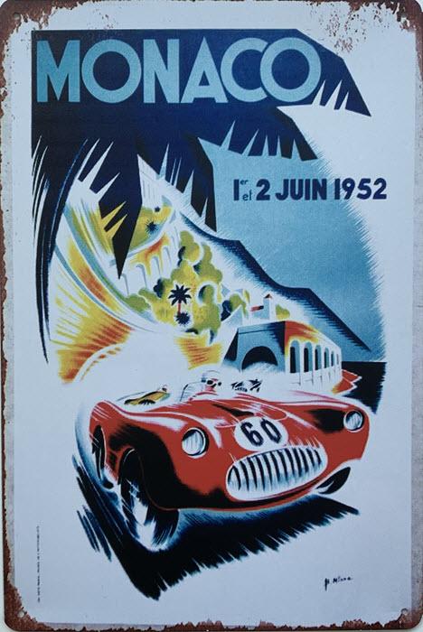 Retro metalen bord limited edition - Monaco