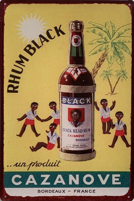 Retro metalen bord limited edition - Rhum black Cazanove