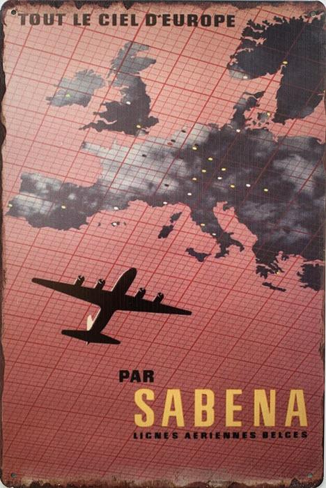 Retro metalen bord limited edition - Sabena lignes aeriennes belges