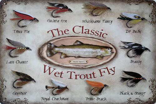 Retro metalen bord limited edition - The classic wet trout fly