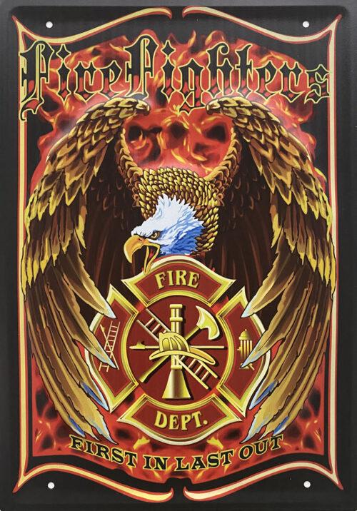 Retro metalen bord groot reliëf - Fire fighters