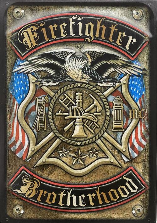 Retro metalen bord groot reliëf - Fire fighters brotherhood