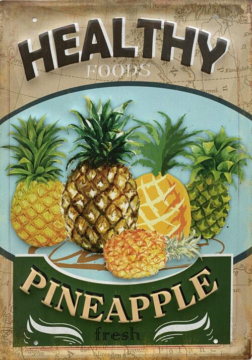 Retro metalen bord groot reliëf - Healthy foods pineapple