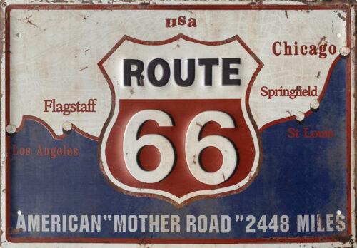 Retro metalen bord groot reliëf - Route 66 American mother road