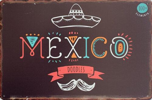 Retro metalen bord limited edition - Mexico doodles