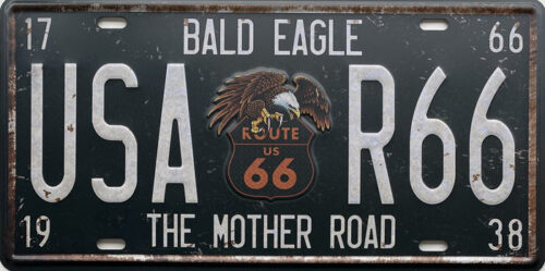 Retro metalen bord nummerplaat - Bald eagle