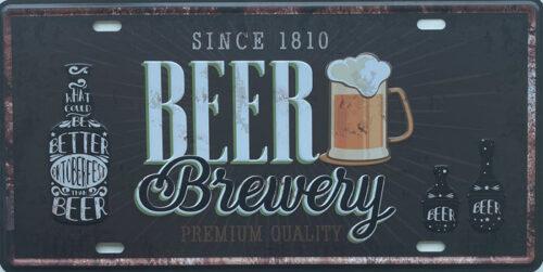 Retro metalen bord nummerplaat - Beer brewery