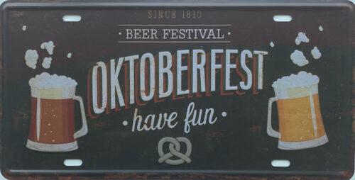 Retro metalen bord nummerplaat - Beer festival Oktoberfest