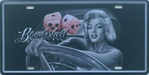 Retro metalen bord nummerplaat - Bombshell