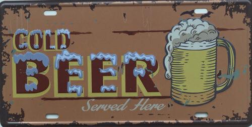 Retro metalen bord nummerplaat - Cold beer served here