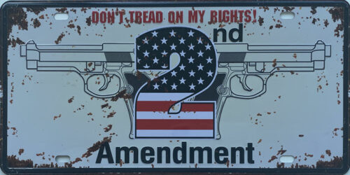 Retro metalen bord nummerplaat - Don't tread on my rights