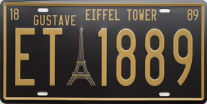 Retro metalen bord nummerplaat - Eiffel tower