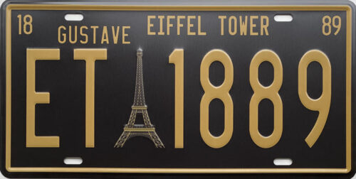 Retro metalen bord nummerplaat - Eiffel tower