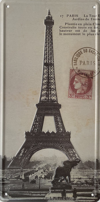 Retro metalen bord nummerplaat - Eiffeltoren