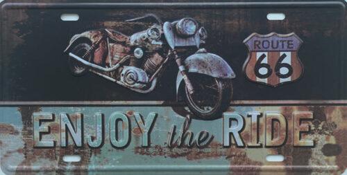 Retro metalen bord nummerplaat - Enjoy the ride