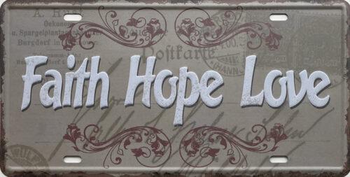Retro metalen bord nummerplaat - Faith hope love
