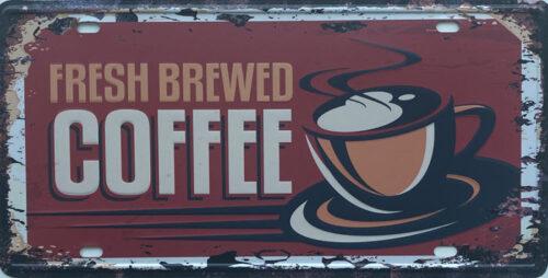 Retro metalen bord nummerplaat - Fresh brewed coffee