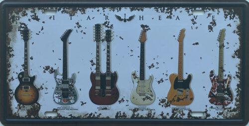 Retro metalen bord nummerplaat - Guitar heaven