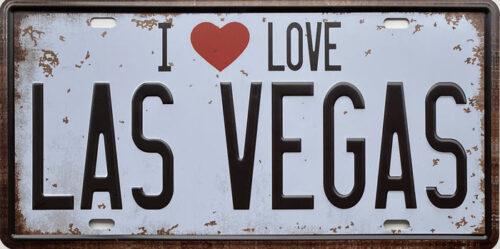 Retro metalen bord nummerplaat - I love Las Vegas