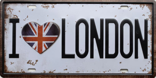 Retro metalen bord nummerplaat - I love London