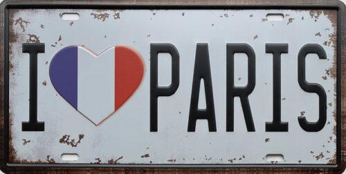 Retro metalen bord nummerplaat - I love Paris