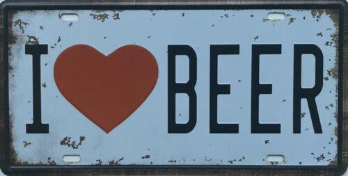 Retro metalen bord nummerplaat - I love beer