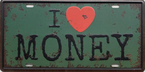 Retro metalen bord nummerplaat - I love money