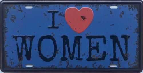 Retro metalen bord nummerplaat - I love women