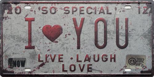 Retro metalen bord nummerplaat - I love you