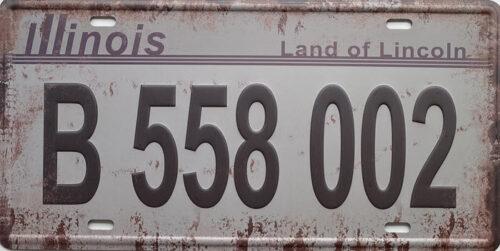 Retro metalen bord nummerplaat - Illinois land of Lincoln