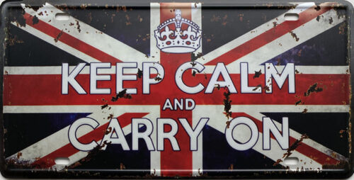 Retro metalen bord nummerplaat - Keep calm and carry on