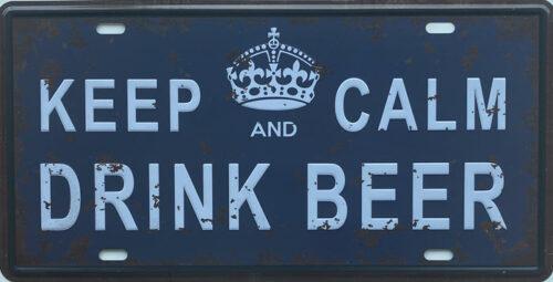 Retro metalen bord nummerplaat - Keep calm and drink beer