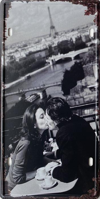 Retro metalen bord nummerplaat - Kissing couple in Paris