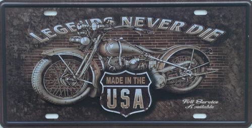 Retro metalen bord nummerplaat - Legends never die
