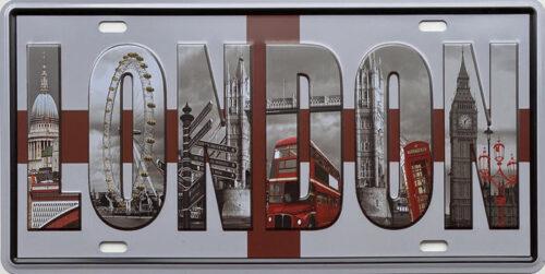 Retro metalen bord nummerplaat - London